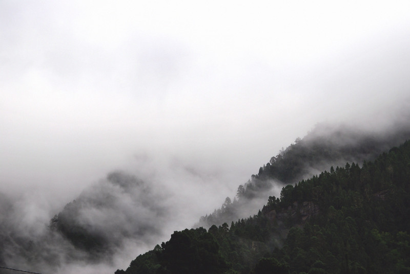 Foggy mountain range